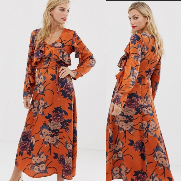 ASOS Dresses & Skirts - Liquorish floral midi dress with ruffle front
